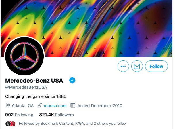 نام کاربری شرکت بنز در توییتر