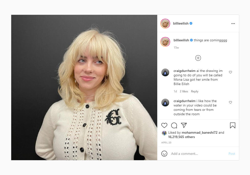 پرلایکترین پستهای اینستاگرام ۲۰۲۱ - تصویر بیلی آیلیش با موهای بلوند و رونمایی از پروژه جدید