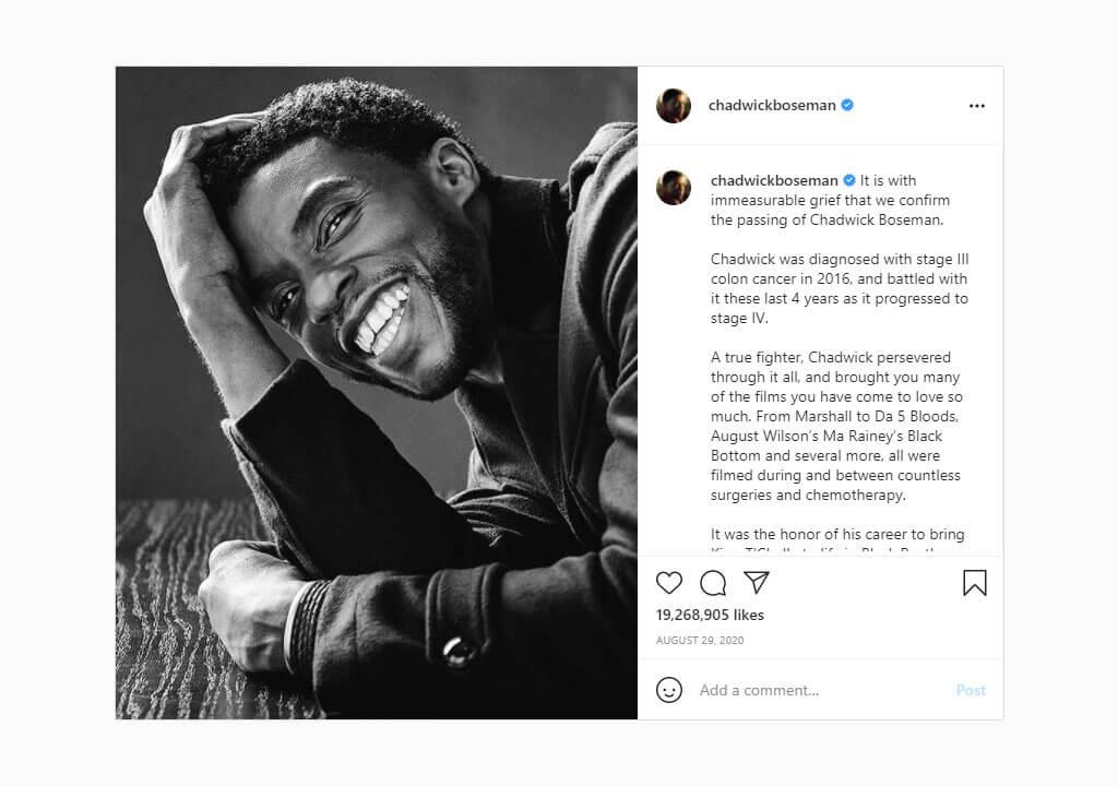 پرلایکترین پستهای اینستاگرام ۲۰۲۱ - پست اطلاعیه مرگ چادویک آرون بوزمن از طرف خانوادهاش