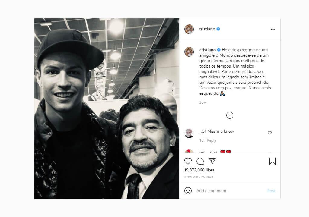 پرلایکترین پستهای اینستاگرام ۲۰۲۱ - پست کریستیانو رونالدو برای یادبود دیگو مارادونا