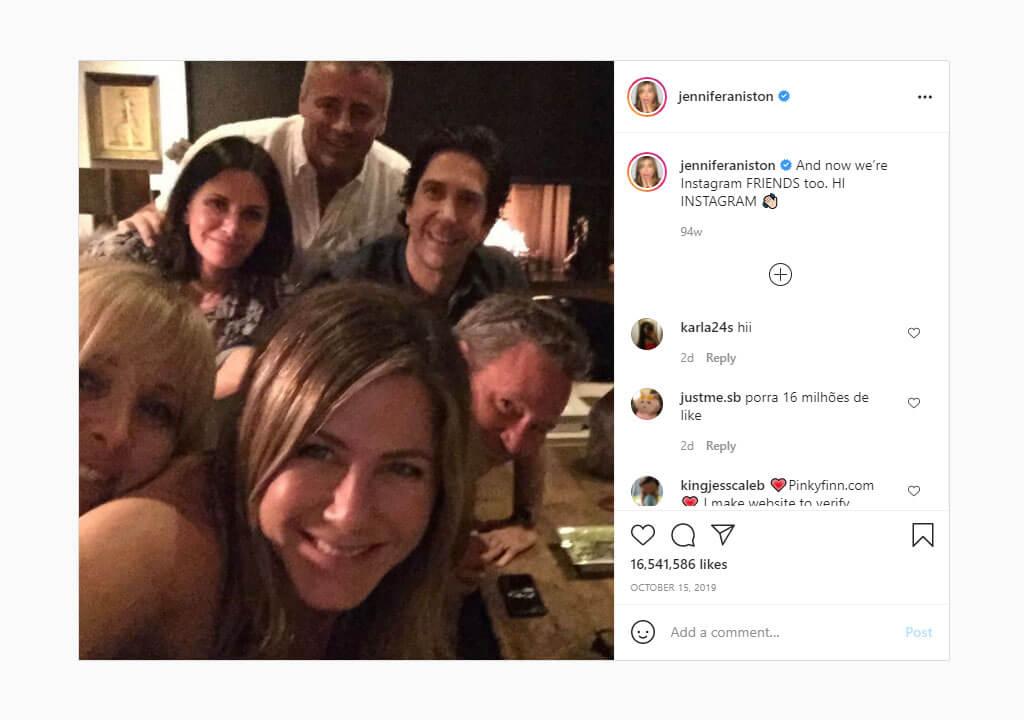 پرلایکترین پستهای اینستاگرام ۲۰۲۱ - تصویر جنیفر آنیستون و ۵ ستاره دیگر سریال FRIENDS