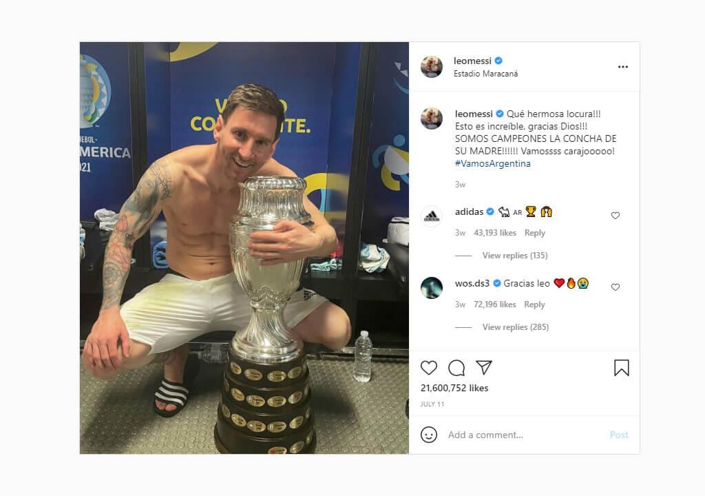 پرلایکترین پستهای اینستاگرام ۲۰۲۱ - تصویر لیونل مسی با جام کوپا آمریکا