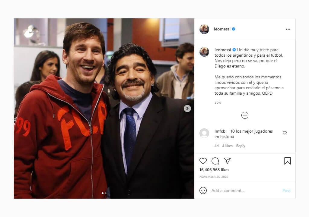 پرلایکترین پستهای اینستاگرام ۲۰۲۱ - پست لیونل مسی برای یادبود دیگو مارادونا