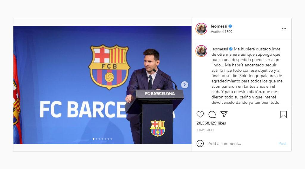 پرلایکترین پستهای اینستاگرام ۲۰۲۱ - پست خداحافظی لیونل مسی از بارسلونا