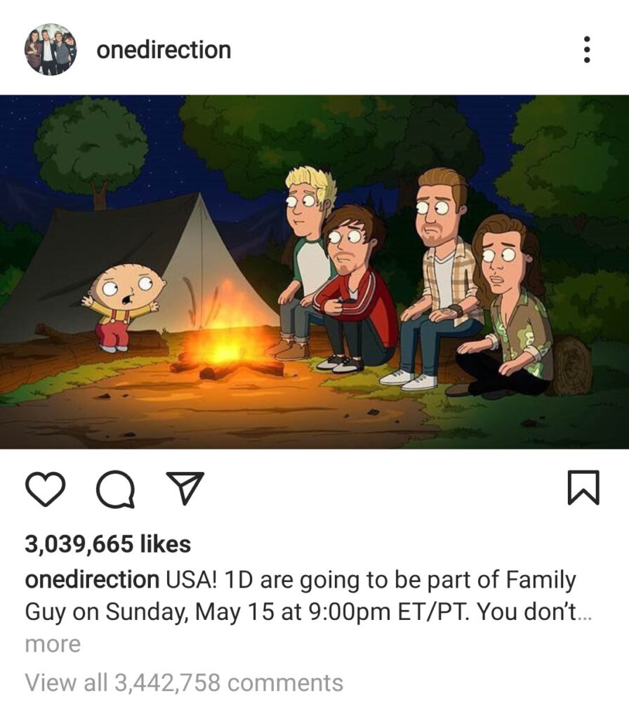 پرکامنتترین پستهای اینستاگرام ۲۰۲۱ - پست همکاری گروه One Direction با Family Guy