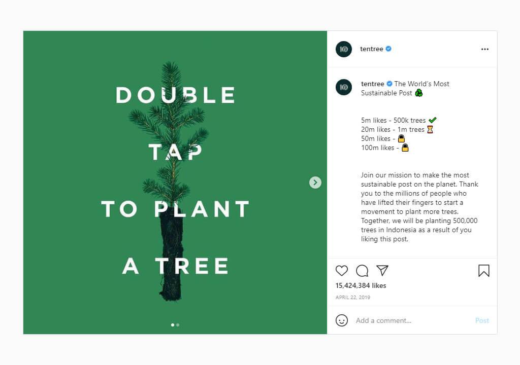 پرلایکترین پستهای اینستاگرام ۲۰۲۱ - ۲۱. پست tentree؛ هر لایک، کاشت یک درخت
