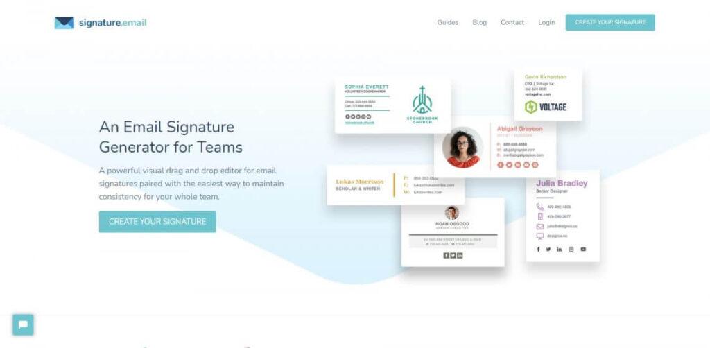 Signature.email نهمین امضا ساز محبوب لیست که رایگان است و تنها برای دسترسیهای بیشتر باید هزینه پرداخت کنید.